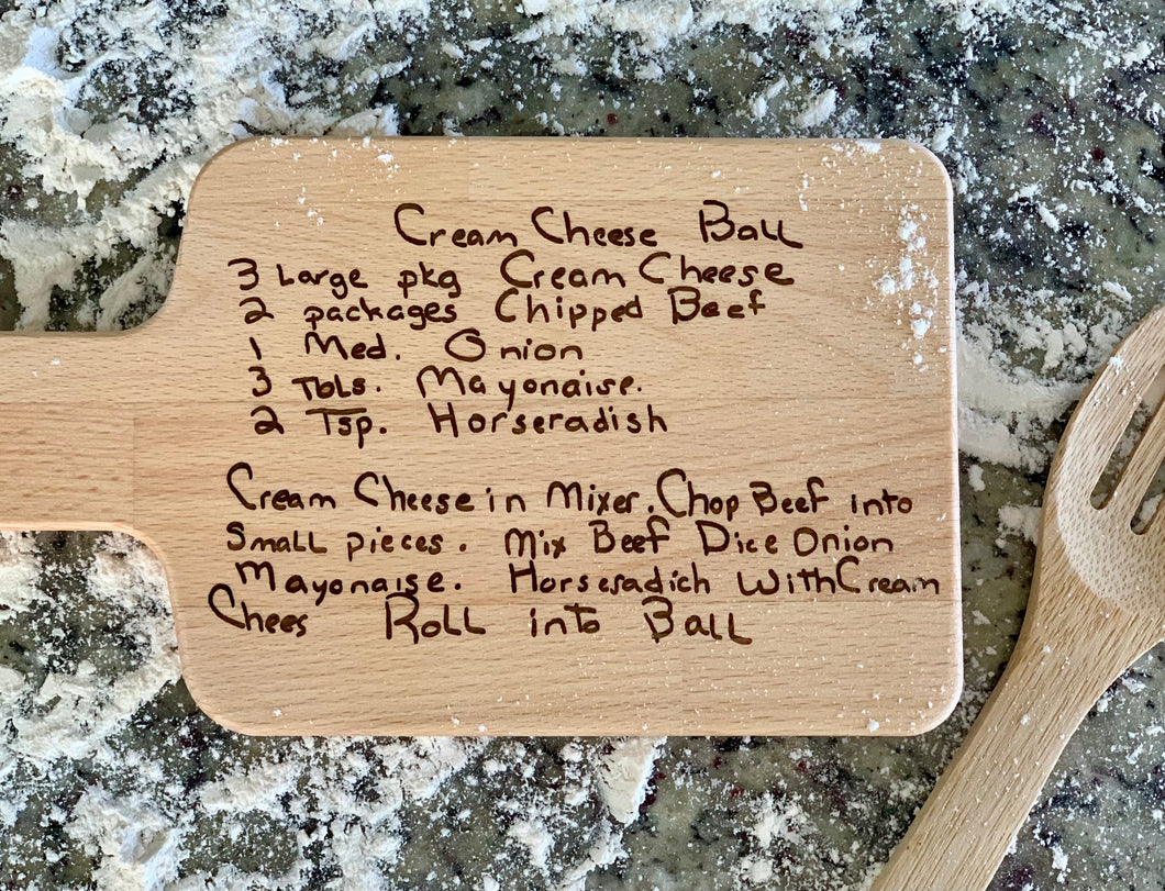 Custom engraved handwriting cutting board