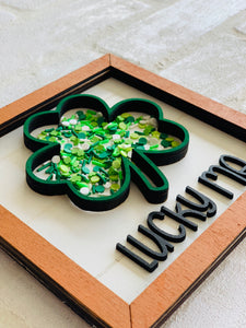 DIY Shamrock shaker sign and garland Bungalow Box