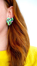 Load image into Gallery viewer, Acid Leopard Print Love Heart Statement Stud Earrings Studio Ides