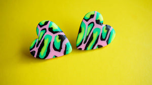Acid Leopard Print Love Heart Statement Stud Earrings Studio Ides