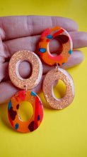 Load image into Gallery viewer, Autumn Watercolour Asymmetrical Statement Donut Earrings Studio Ides