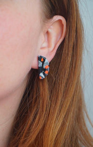 Black, Oyster, White and Vermillion Orange Terrazzo Half Moon Stud Earrings Studio Ides