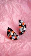 Load image into Gallery viewer, Black, Oyster, White and Vermillion Orange Terrazzo Half Moon Stud Earrings Studio Ides