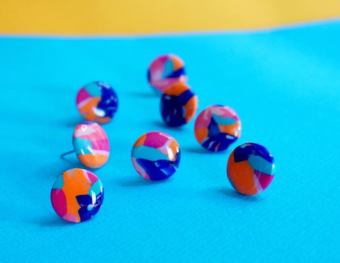 Blue, Orange, Pink and Turquoise Abstract Camouflage Stud Earrings Studio Ides