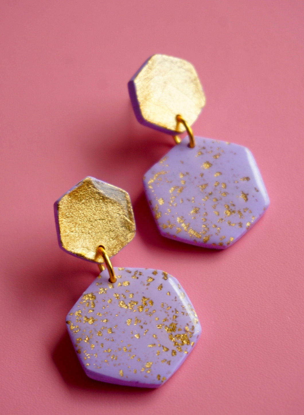 Lilac Hex Midi Dangle Earrings Studio Ides