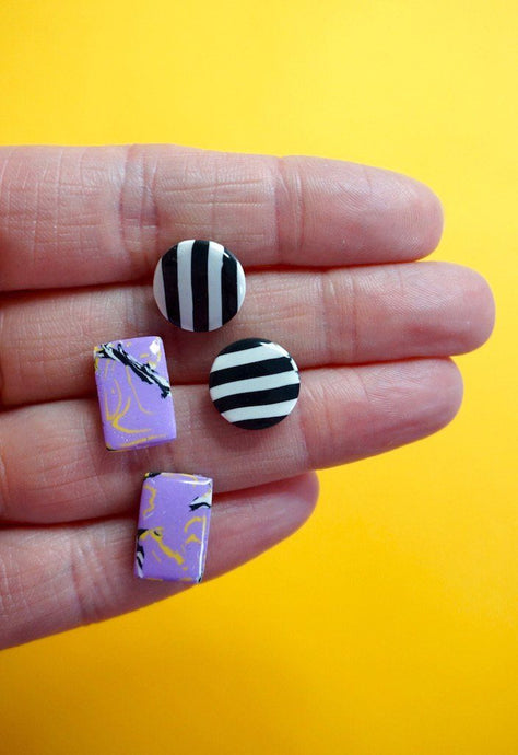 Lilac Marble and Monochrome Stripes Stud Earring Double Pack Studio Ides
