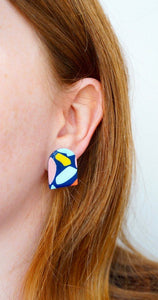 PALM SPRINGS // Archie Statement Studs in Navy Studio Ides