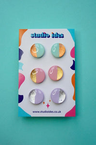 Pastel Pink, Mint and Lilac Metallic Stud Earrings Three Pack Studio Ides