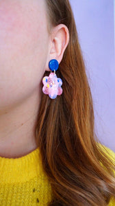 Pink, Lilac, Yellow and Blue Abstract Fleck Flower Dangle Earrings Drop Earrings Studio Ides