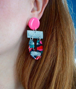 Pink, Silver and Black Mix Lucky Horseshoe Statement Dangle Earrings Studio Ides