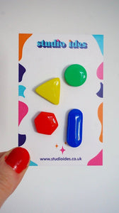 Quirky Geometric Colourful Mix and Match Stud Earrings Set of Four in Yellow, Green, Red and Blue Studio Ides