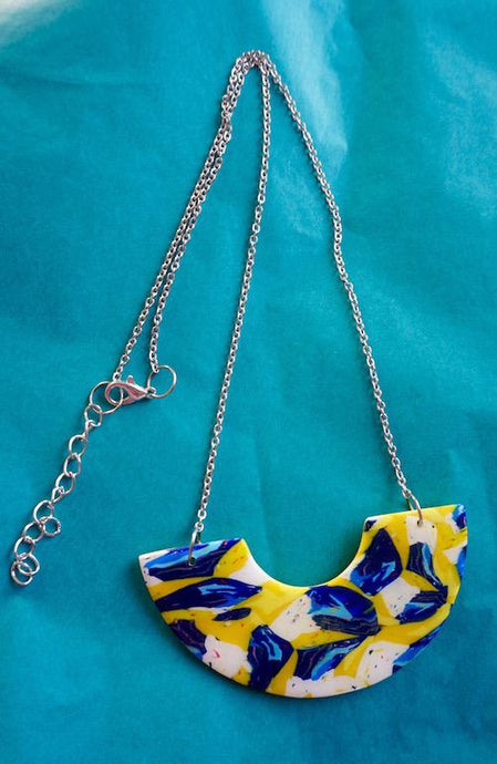 Small, Colourful, Statement Necklace in Yellow, Cobalt, Sky Blue and White Fleck Abstract Pattern Studio Ides