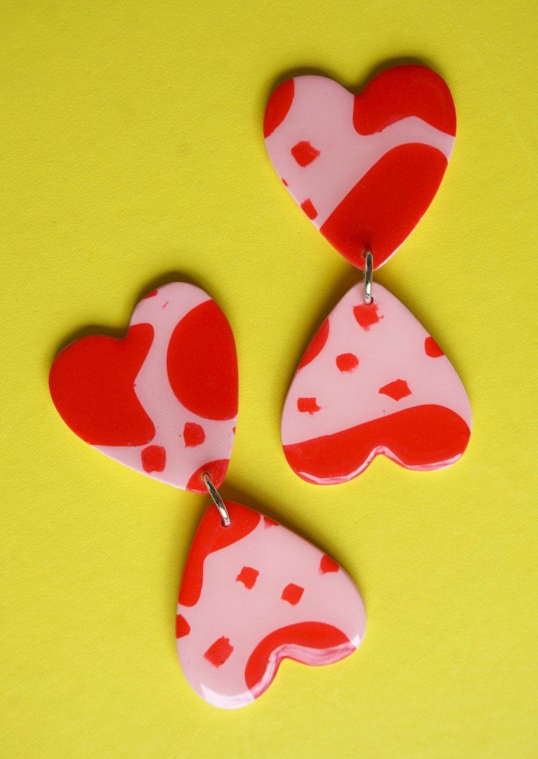 SPREAD LOVE // Red & Pink Abstract Print Love Heart Shaped Statement Dangle Earrings Studio Ides