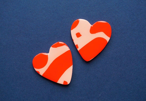 SPREAD LOVE // Statement Red & Pink Abstract Print Love Heart Shaped Stud Earrings Studio Ides