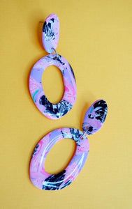 Statement Organic Donut Shaped Earrings in a Pink, Lilac, Black and White Psychedelic Pattern Studio Ides