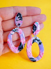 Load image into Gallery viewer, Statement Organic Donut Shaped Earrings in a Pink, Lilac, Black and White Psychedelic Pattern Studio Ides