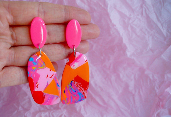 Statement Slim Dangle Earrings in Bright Pink, Orange and Red Abstract Patchwork Pattern Studio Ides