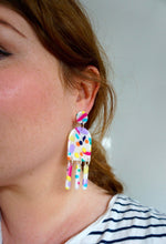 Load image into Gallery viewer, Summer Watercolour 'Shimmy' Statement Dangle Fringed Earrings Studio Ides