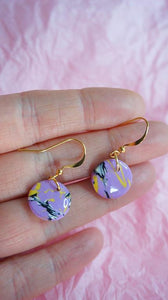 Tiny Lilac Marble Dangle Disk Gold Plated Hook Earrings Studio Ides