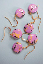 Load image into Gallery viewer, Tiny Lilac Marble Dangle Disk Gold Plated Hook Earrings Studio Ides