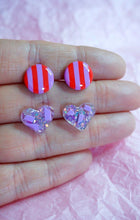 Load image into Gallery viewer, Valentine's Day Love Heart and Stripe Stud Earrings Double Pack Studio Ides