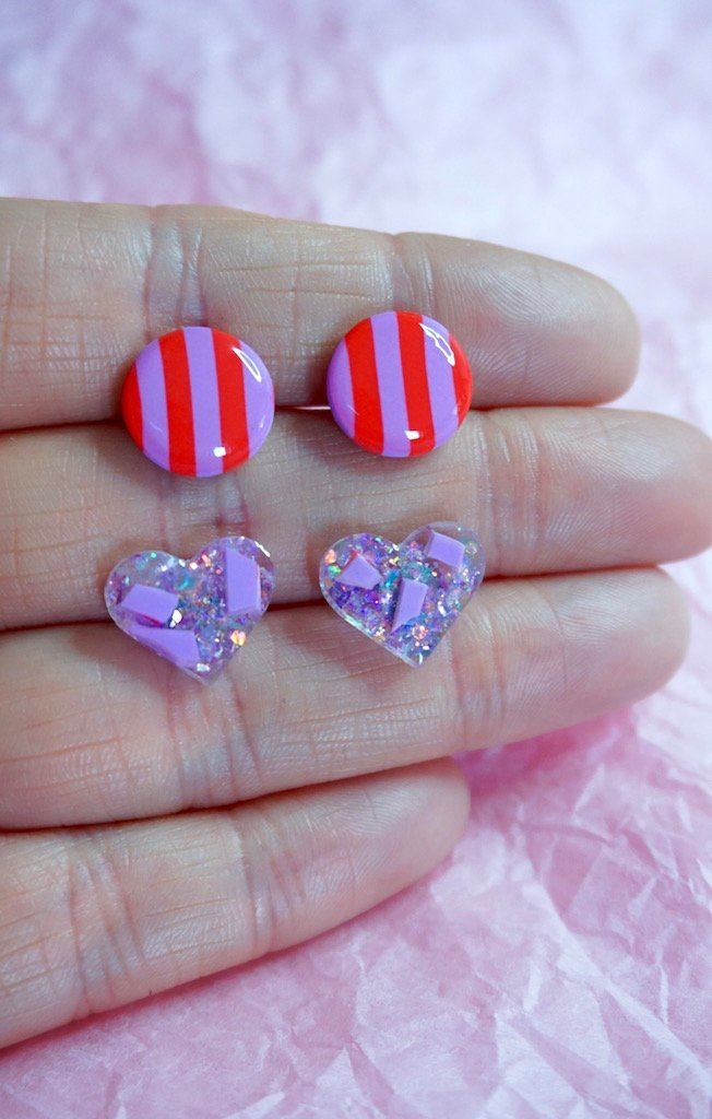 Valentine's Day Love Heart and Stripe Stud Earrings Double Pack Studio Ides