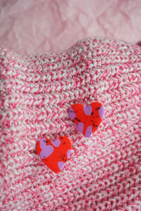 Valentine's Day Love Heart Red and Lilac Terrazzo Fleck Stud Earrings Studio Ides