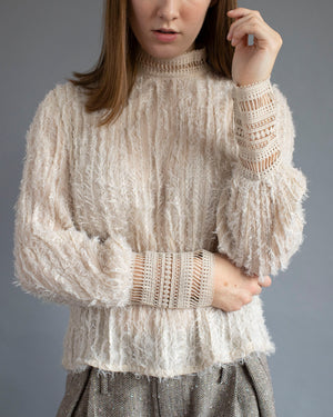 Cream Textured Top with Lace Detail