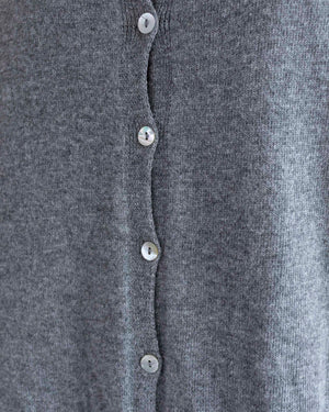 Soft Grey Button Back High-Low Sweater