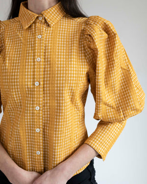 Mustard Gingham Lace Puff Sleeve Shirt