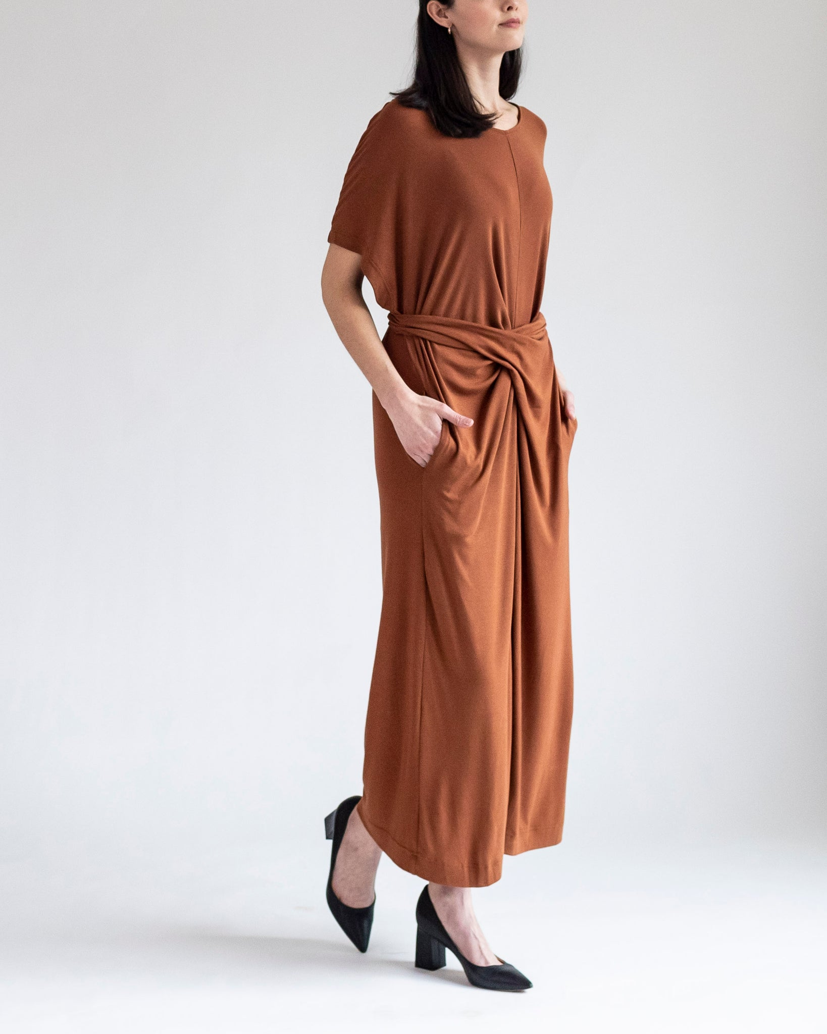 Terracotta Tie-Waist Jersey Dress
