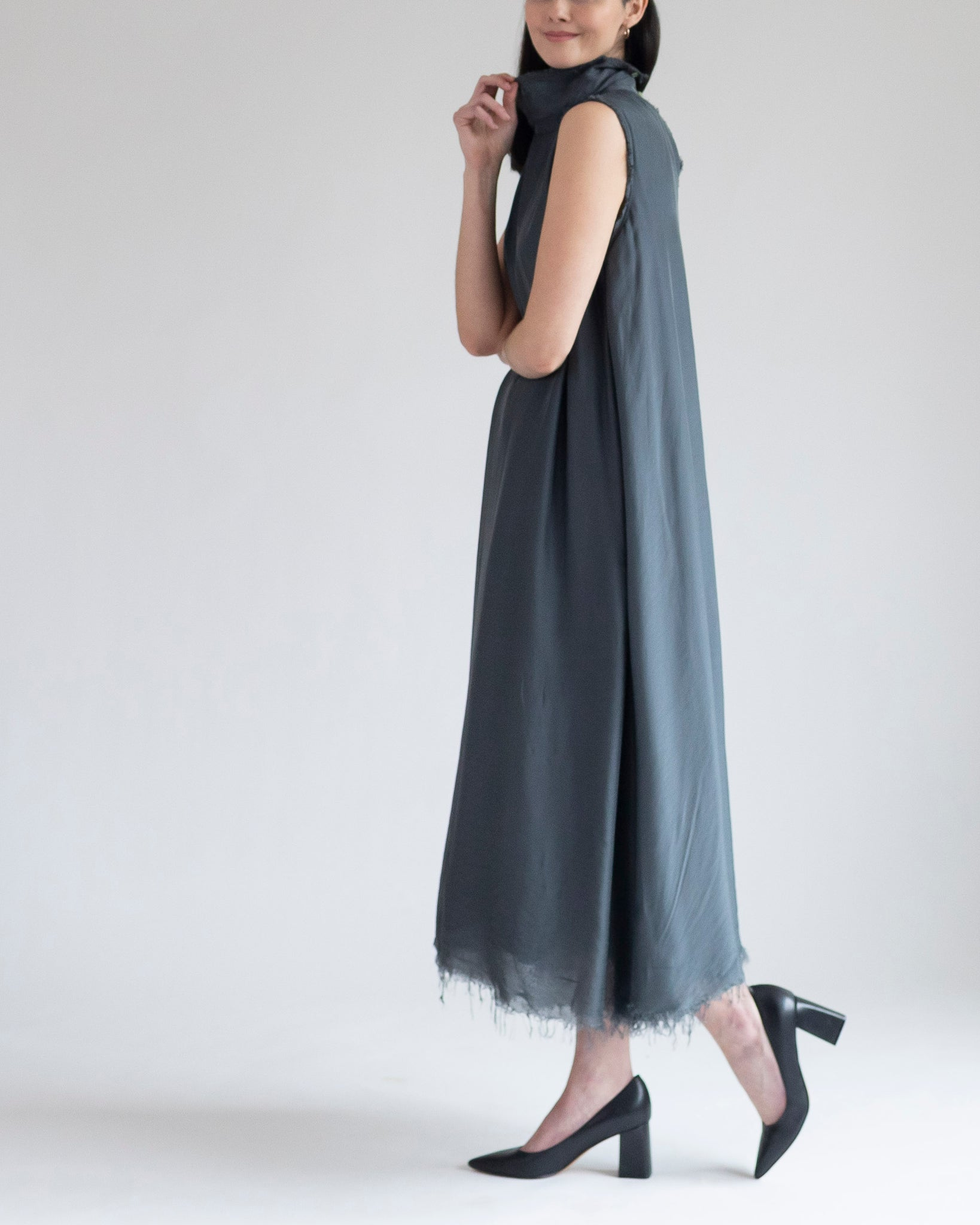 Slate Gray Silk Dress