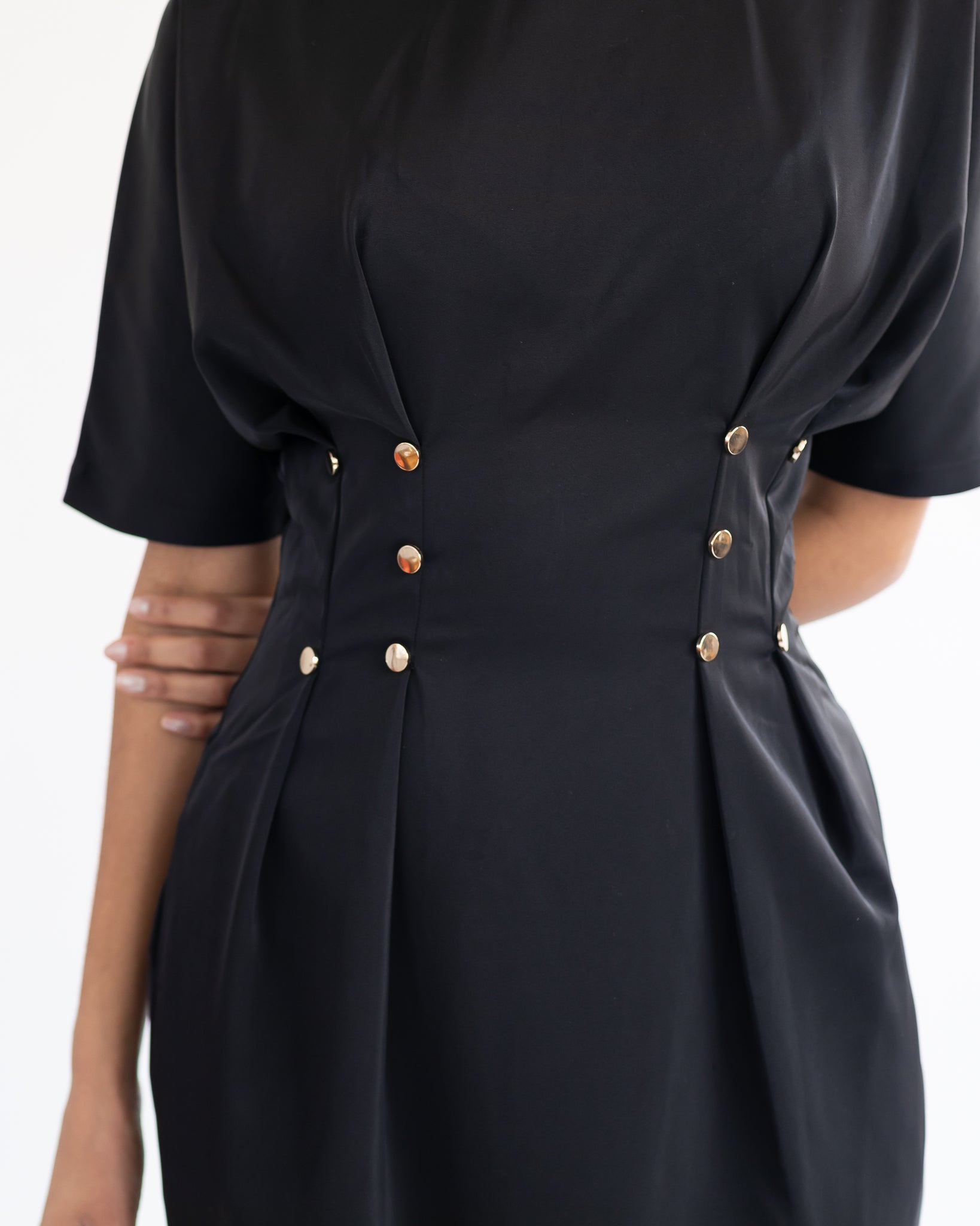 Black Dress with Gold Buttons