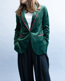 Velvet green jacket with red details