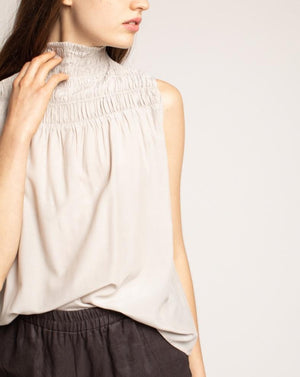 Light Beige Ruched Top