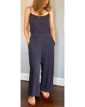 Navy Jumpsuit with White Dots