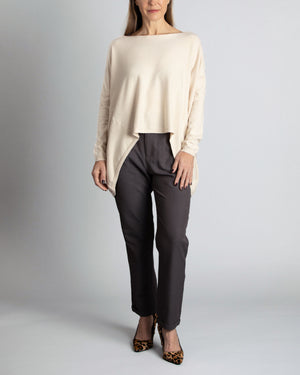 Pullover Ecru High-Low Sweater