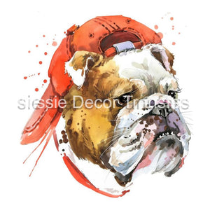 Bulldog in Cap A3 Decoupage - Aussie Decor Transfers