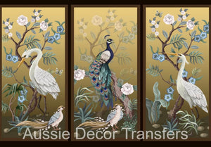 Peacock Cranes & Pheasants A1 Decoupage - Aussie Decor Transfers