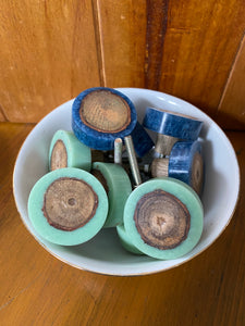Green Resin & Timber - drawer door knobs