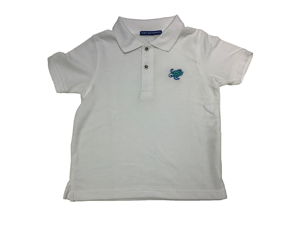 Coastal Kids Polo- White Turtle