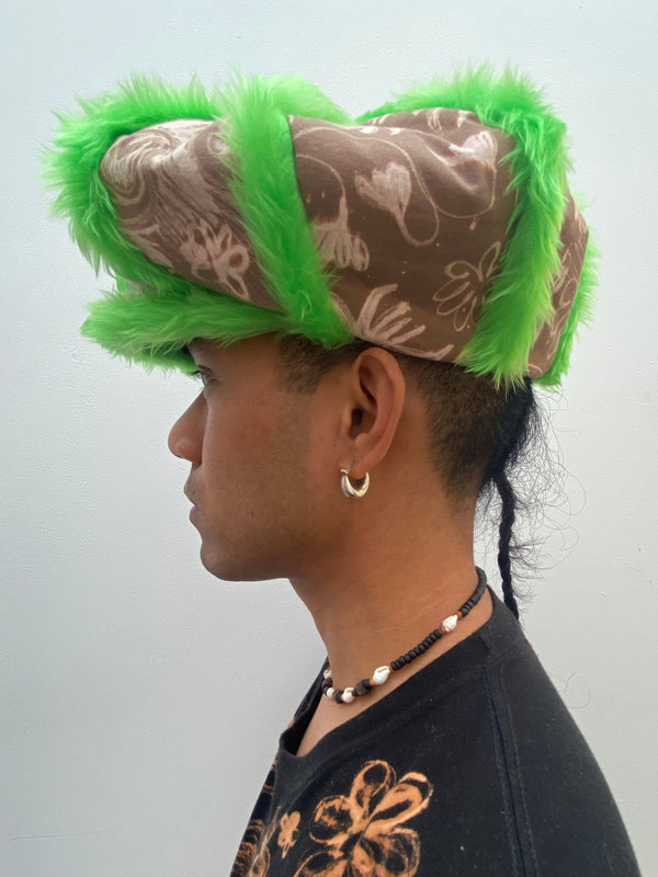 Green Faux Fur Trim Castellano Crown