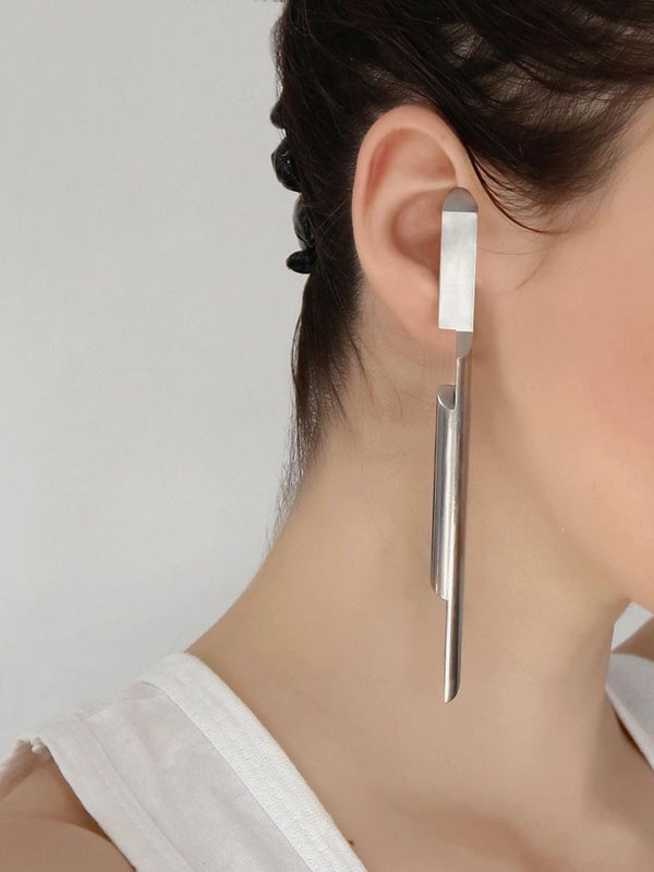 Puzzle Blade 11 Earrings LARGE Hollow in 3d printed Titanium
