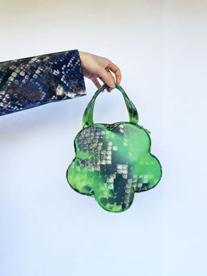 Leeann Huang-Colour Changing Green Python Flower Bag-APOC STORE