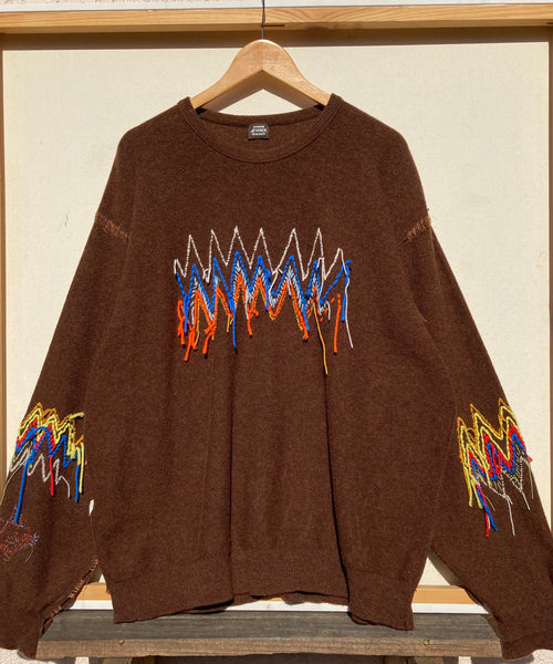 Brown Wool Zig Zag hand embroidered Sweater