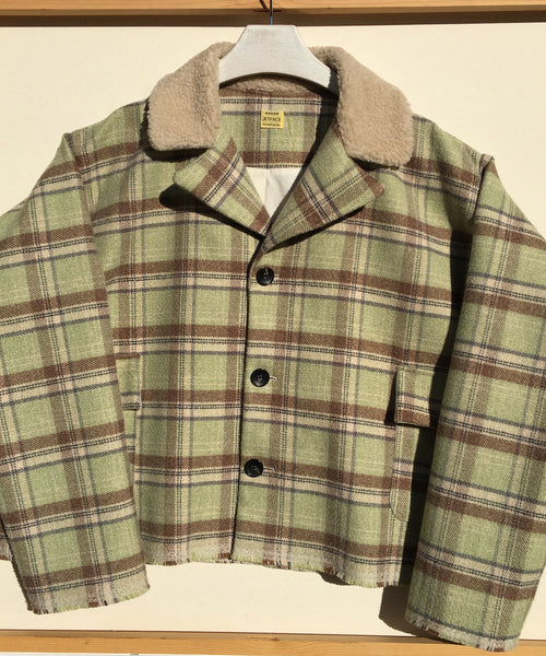 Mint Plaid Wool Rectangle Coat