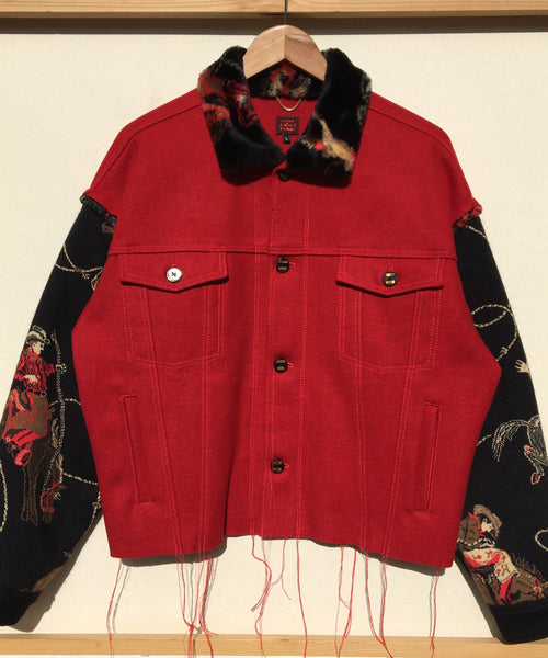 Red Wool/Faux Fur Horse Rider Jacket
