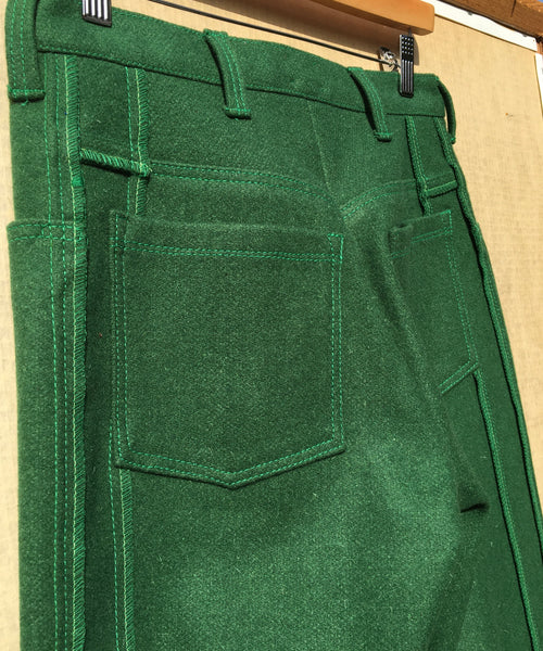Deconstructed style Green trousers with Zig-Zag Embroidery
