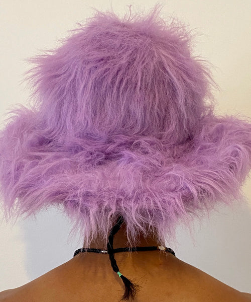 Lilac Fuzzy Faux Fur Dome Hat