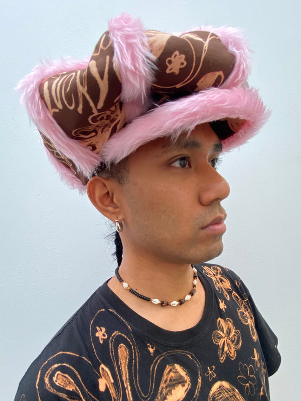 Pink Faux Fur Trim Castellano Crown